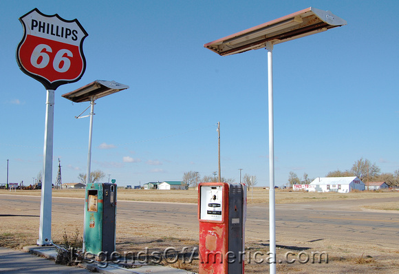 Adrian, TX - Bent Door Gas Pumps