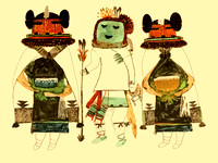 Ahulani and Two Soyal Mana Kachinas