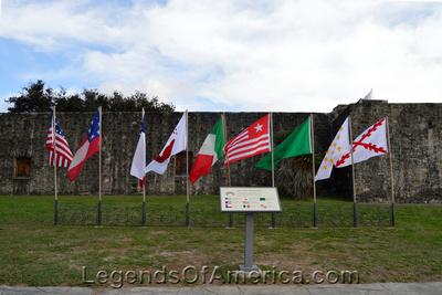 Goliad, TX - MissionEspirtuSanto-flags