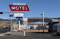 Bridgeport, CA - Redwood Motel Sign
