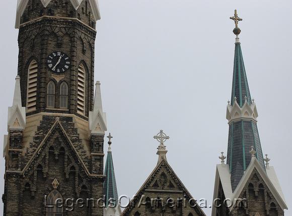 Milwaukee, WI - Trinity Evangeline Lutheran Church Steeples near Brewery