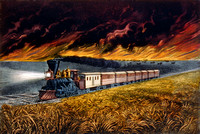 Prairie Fire and Steam Locomotive, 1872