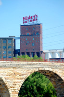 Minneapolis, MN - Pillsbury Sign & Stone Arch Bridge