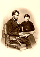 Abraham Lincoln reading the Bible to his son.
