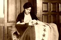 Alice Paul making Suffrage Flag