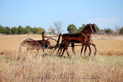 Augusta, KS - Henry's Sculpture Hill - Operating a Dump Rake