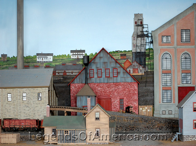 Hancock, MI - Quincy Mine Model-Backside Looking Northwest
