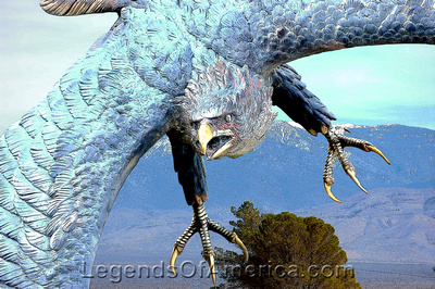 Pahrump, NV - Eagle Statue and Charleston Mountain